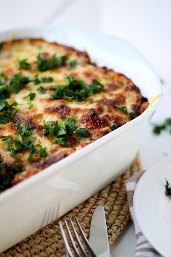 Beef, Mushroom and Kale Lasagna