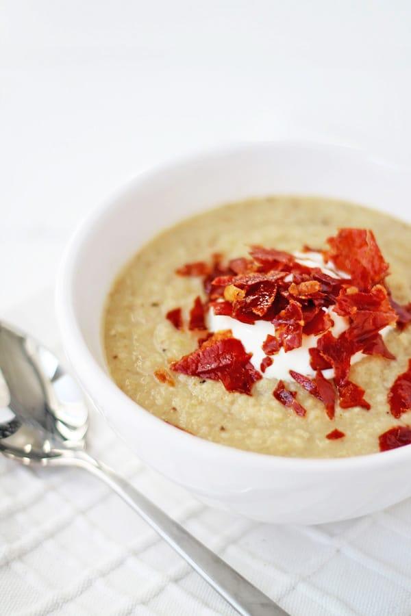 Roasted Cauliflower Soup with Crispy Prosciutto | mylittlelarder.com
