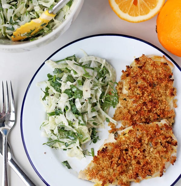 Quinoa Crusted Chicken with Fennel Slaw   mylittlelarder.com