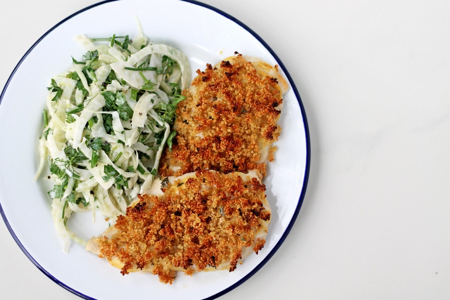 Quinoa Crusted Chicken with Fennel Slaw | mylittlelarder.com