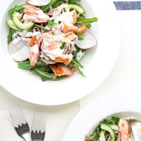 Hot Smoked Salmon and Soba Noodle Salad | mylittlelarder.com