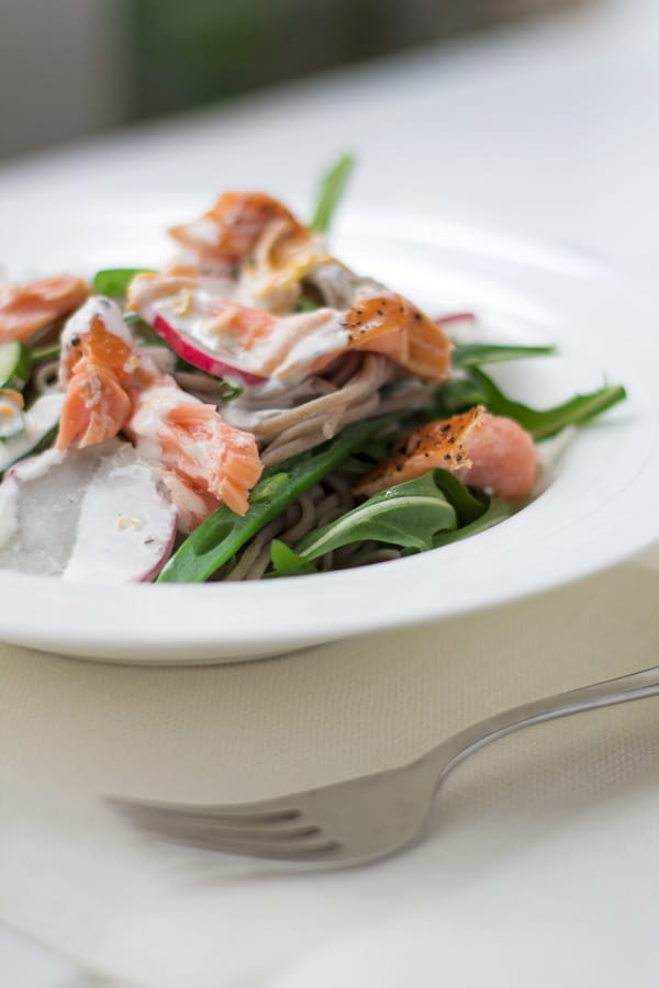 Hot Smoked Salmon and Soba Noodle Salad | mylittlelarder.com
