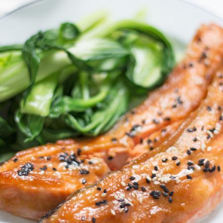 Miso Glazed Salmon with Asian Greens | www.mylittlelarder.com