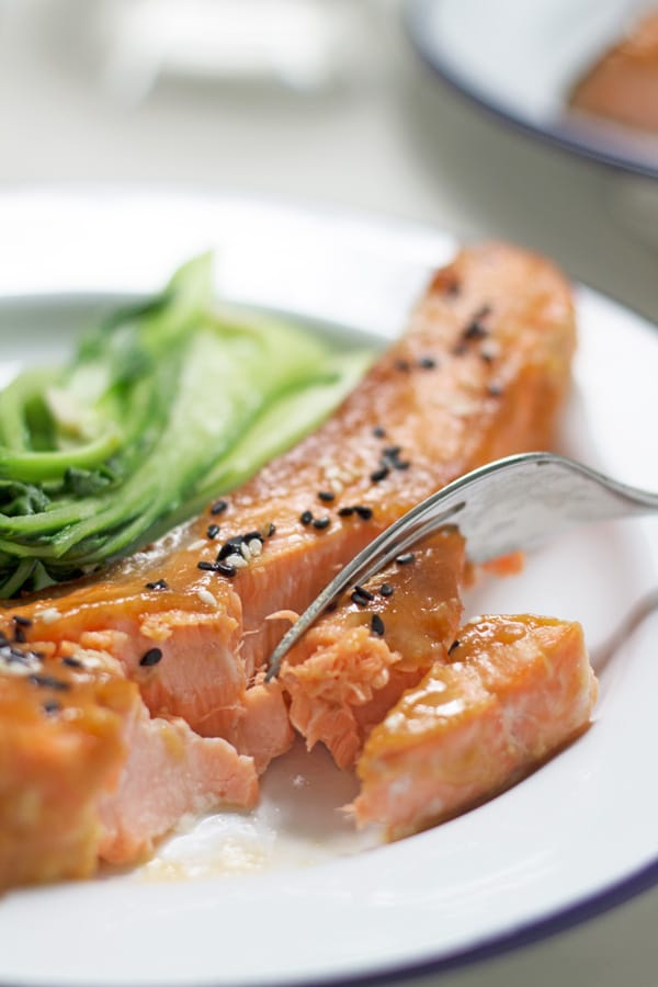 Miso Glazed Salmon with Asian Greens | www.mylittlelarder.com
