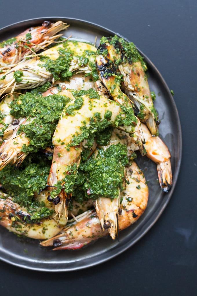 Grilled Prawns with Chimichurri Sauce | mylittlelarder.com