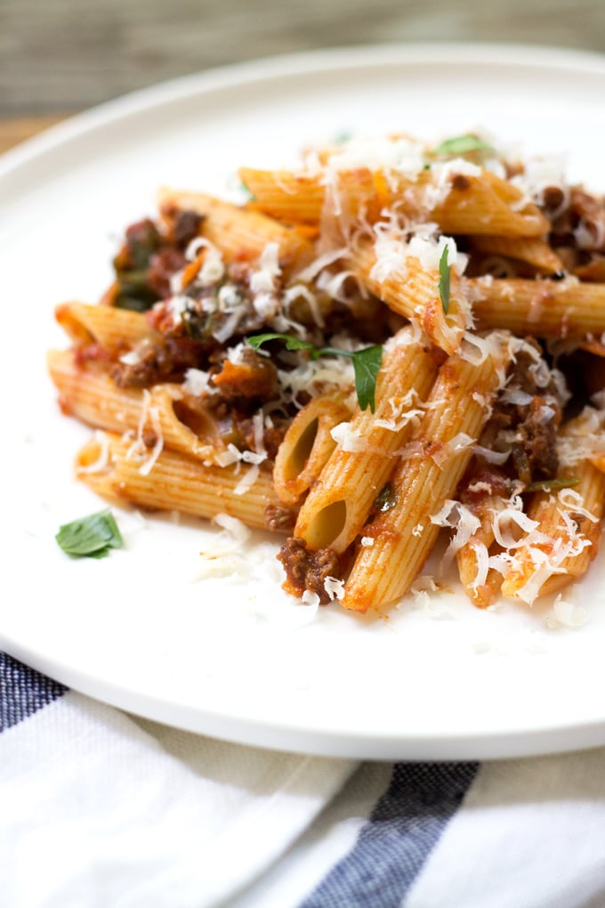 Quick Beef Bolognese with Penne Pasta | My Little Larder