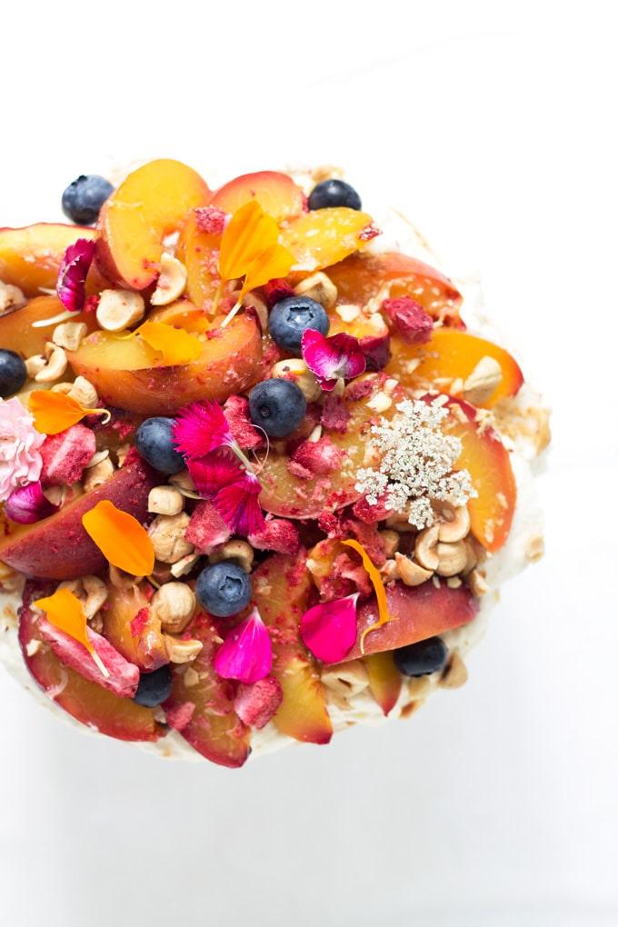 Summer Pavlova with Honey and Thyme Roasted Nectarines and Hazelnuts | mylittlelarder.com