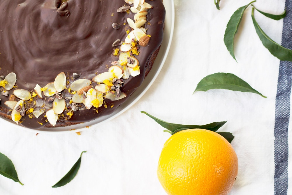 Almond and Boiled Orange Cake with Bittersweet Dark Chocolate Ganache   mylittlelarder.com