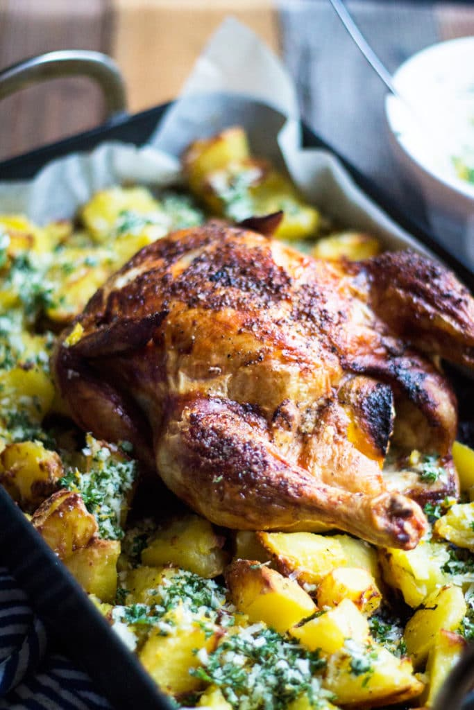 Best Ever Roast Chicken and Crispy Potatoes with Lemon ...