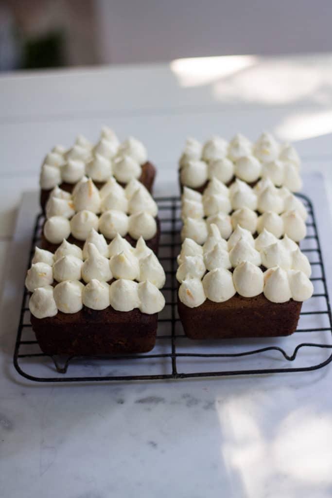 Gingerbread Loaves Brandy Cream Cheese Frosting | mylittlelarder.com