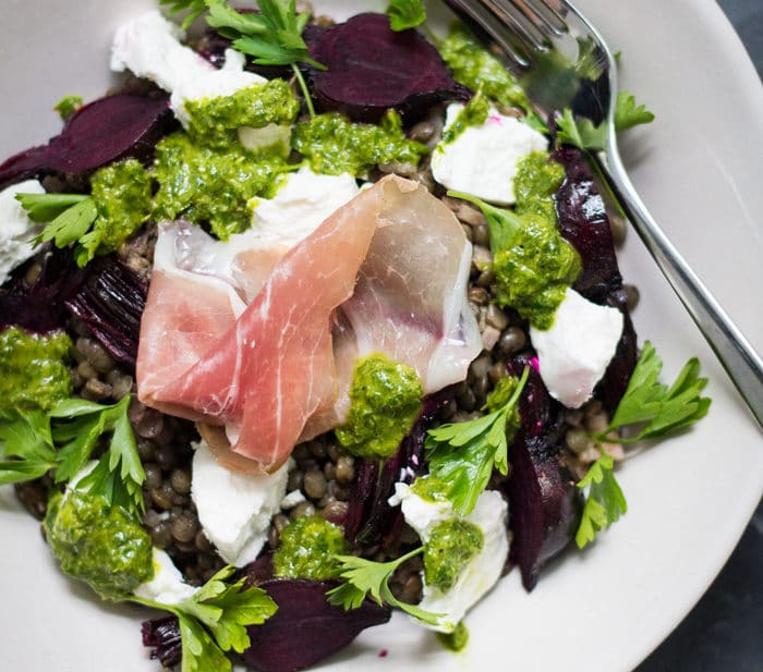 Beetroot, Herb and Goat's Cheese Lentil Salad