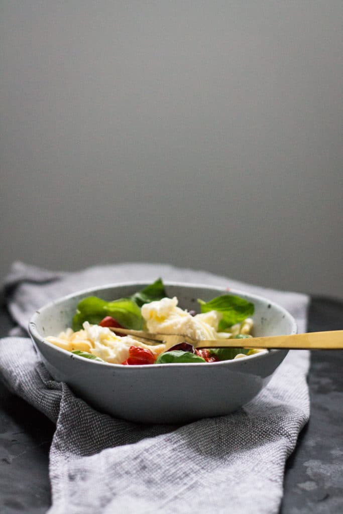 Blistered Cherry Tomato Pasta with Burrata