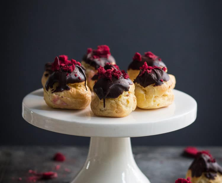 Plum, Lemon and Bittersweet Chocolate Choux Bombs