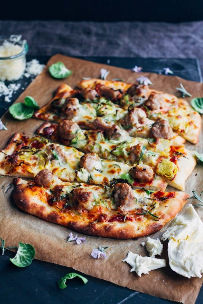 Rosemary, Brussel Sprouts and Sausage Pizza