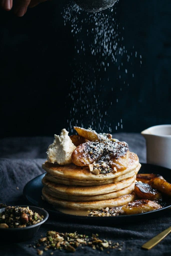 Buckwheat Pancakes with Caramelised Bananas and Sweet Dukkah