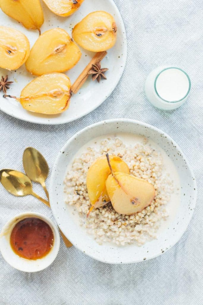 Chai Spiced Buckwheat Porridge with Maple Roasted Pears