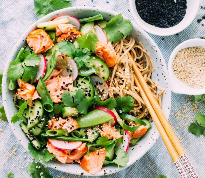 Salmon, Tamari and Soba Noodle Salad