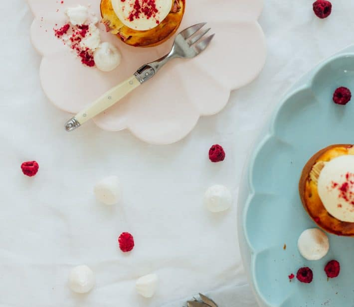 Ricotta and Rhubarb Cakes with Vanilla Mascarpone and Meringue