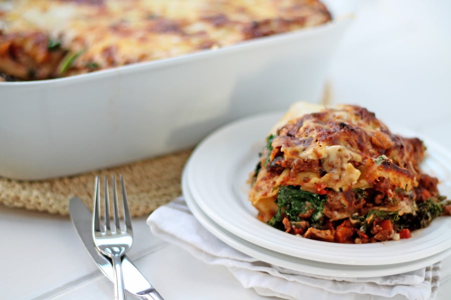 Beef, Kale and Mushroom Lasagna