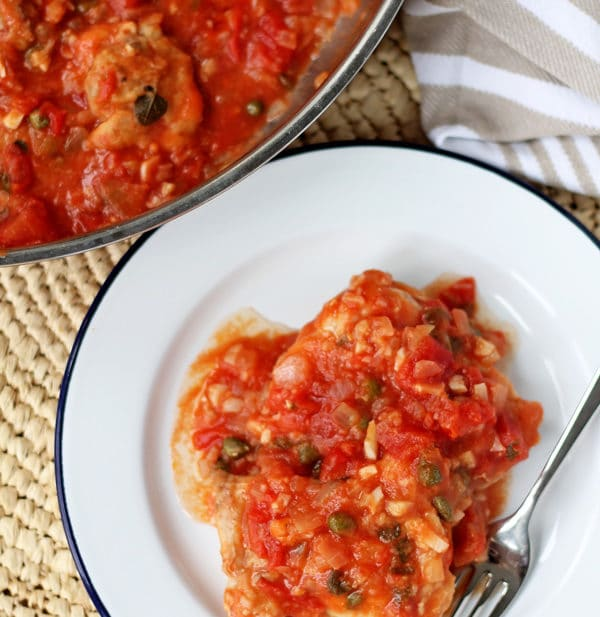 Healthy Braised Chicken Thighs with Tomatoes, Garlic and Capers