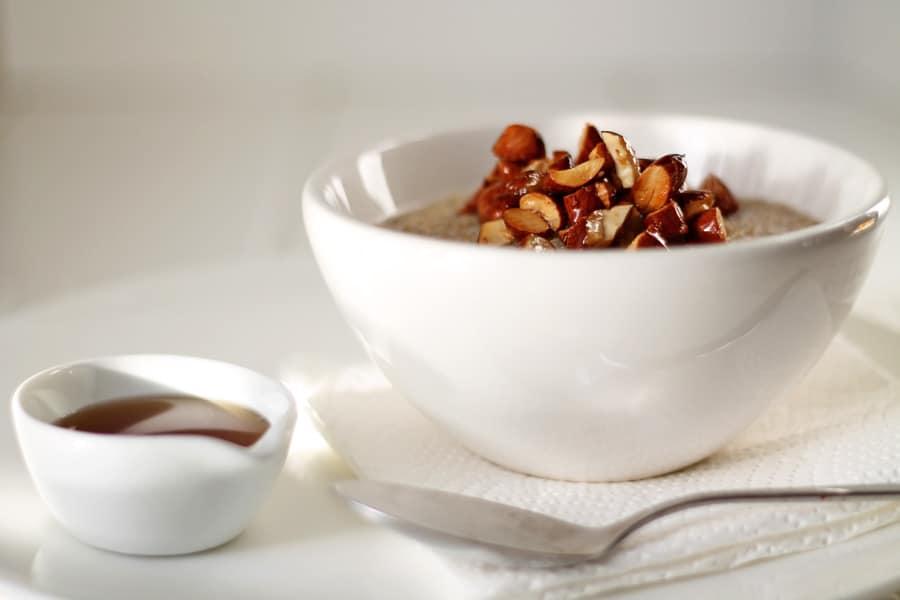 Quinoa Porridge and Salted Maple Almonds