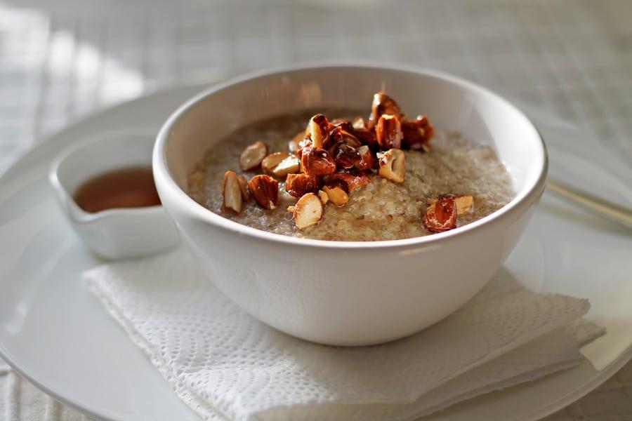 Quinoa Porridge with Salted Maple Almonds