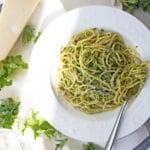 Spaghetti with Spicy Kale Pesto | mylittlelarder.com