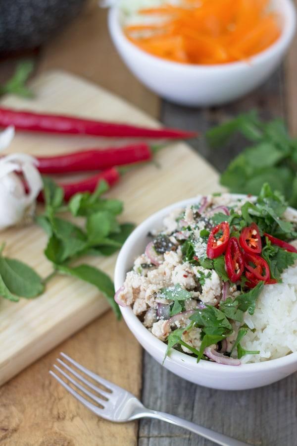 Thai Chicken Larb | mylittlelarder.com