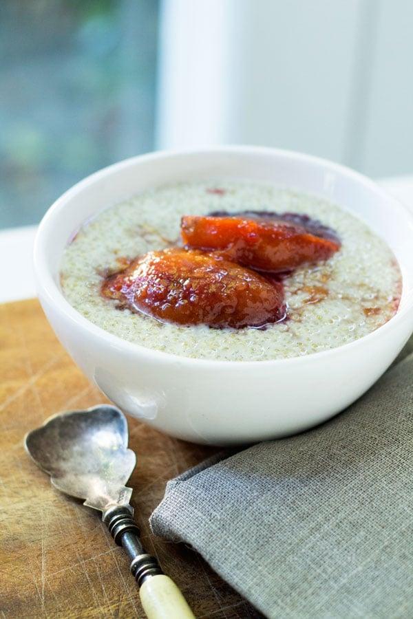 Coconut Quinoa Pudding with Honey Poached Tamarillos | mylittlelarder.com