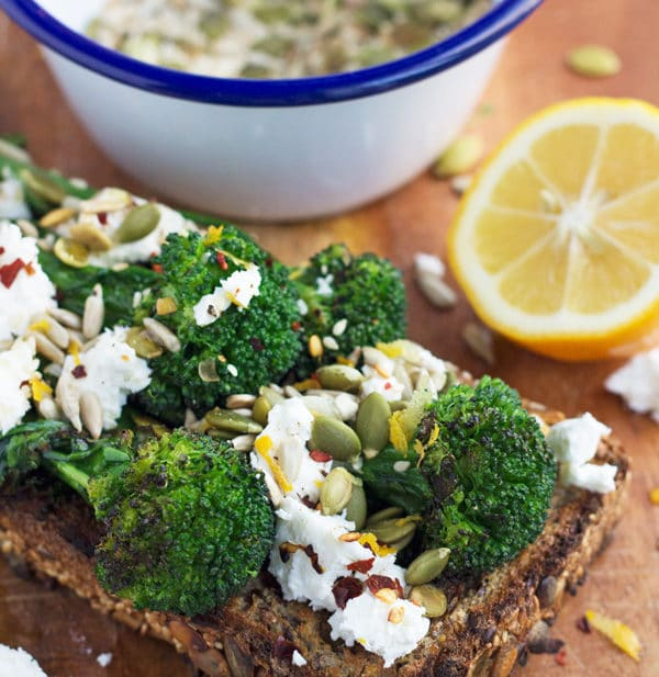 Chargrilled Broccolini with Toasted Seeds, Feta and Chilli | mylittlelarder.com