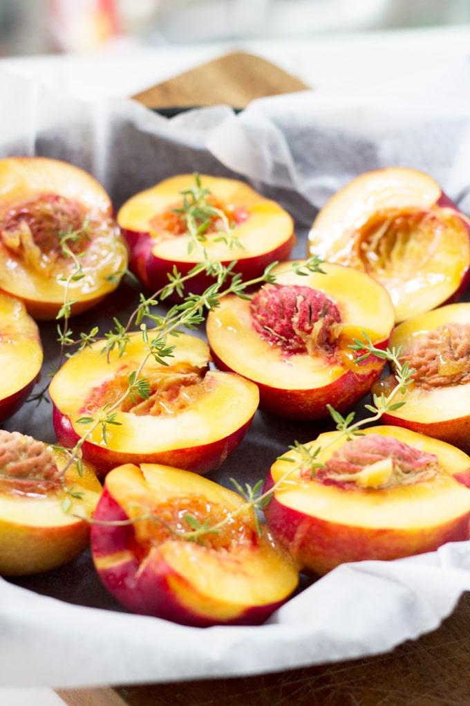 Honey and Thyme Roasted Nectarines | mylittlelarder.com
