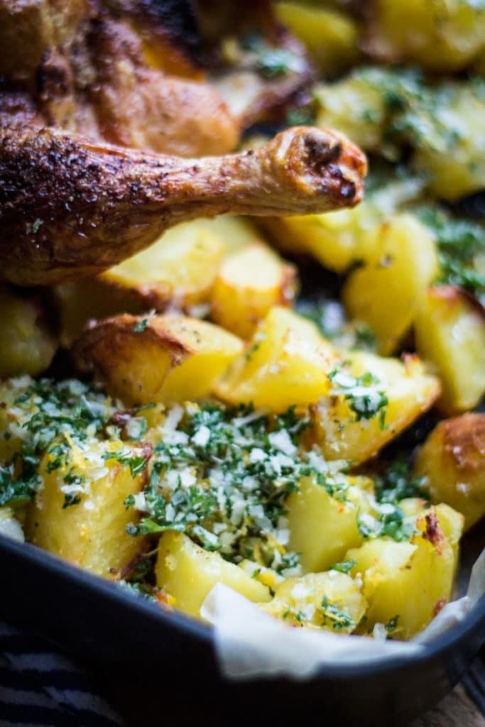 Best ever roast chicken, potatoes and gremolata | mylittlelarder.com