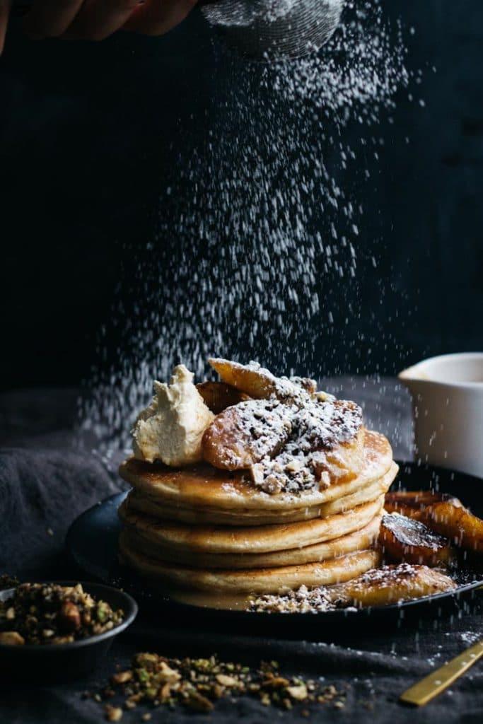 Buckwheat Pancakes with Caramelised Bananas and Sweet Dukkah