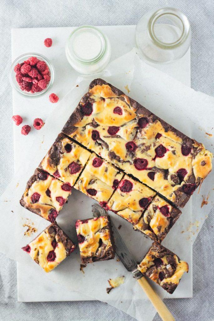 Raspberry Cheesecake Brownies | My Little Larder