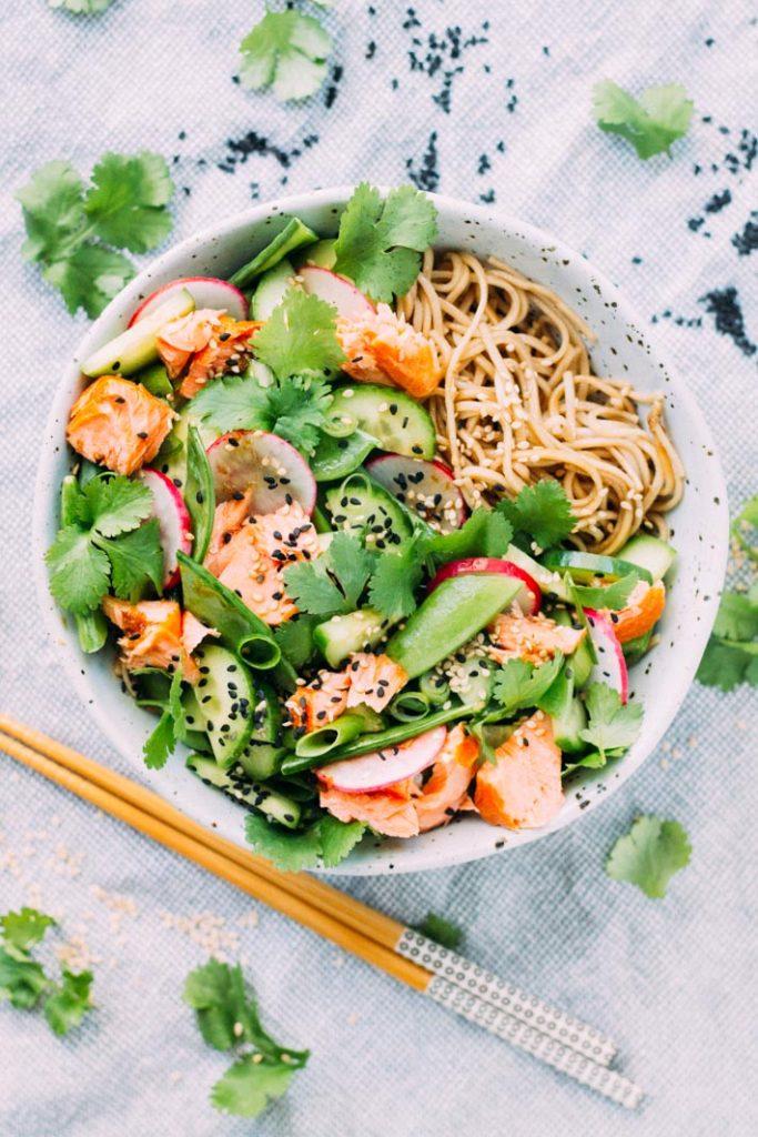 Salmon, Tamari and Soba Noodle Salad | My Little Larder